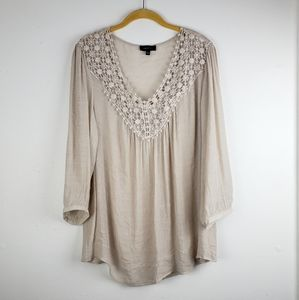 Spence Tan V Neck Crochet Boho Tunic Top